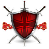 Silver shield with swords and ribbon. Royalty Free Stock Photography