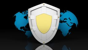 Silver shield symbol on world map Stock Image