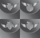 Silver shield and wing art Stock Images