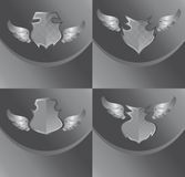 Silver shield and wing art Stock Photos