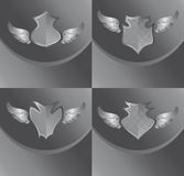 Silver shield and wing art Royalty Free Stock Images