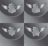 Silver shield and wing art Stock Photography