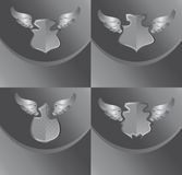 Silver shield and wing art Stock Photo