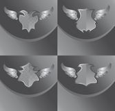 Silver shield and wing art Stock Image