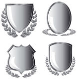 Silver shields Stock Photo