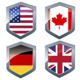 Silver shileds with flags Royalty Free Stock Photo