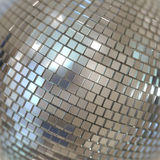 Silver Shining Disco Ball Background. Mirrorball, Mirror Ball, Disco Ball, Discoball or Spiegelkugel, for party flyers Stock Image