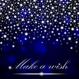 Silver shining falling stars on blue ambient blurred background. Luxury design. Vector illustration Royalty Free Stock Image
