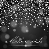 Silver shining falling stars on grey ambient blurred background. Luxury design. Vector illustration Stock Photo