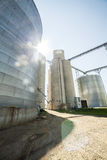 Silver, shiny agricultural silos Royalty Free Stock Images