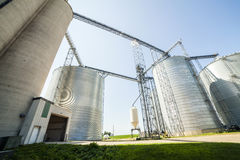 Silver, shiny agricultural silos Royalty Free Stock Photography