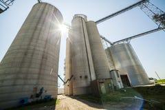 Silver, shiny agricultural silos Royalty Free Stock Photos
