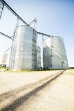 Silver, shiny agricultural silos Royalty Free Stock Image