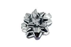 Silver shiny bow Royalty Free Stock Image