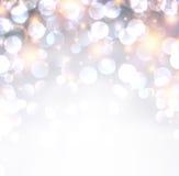 Silver shiny christmas background. Silver shiny defocused christmas background. Bright bokeh. Vector illustration Stock Photos