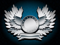 Silver shiny coat of arms with wings Stock Photos