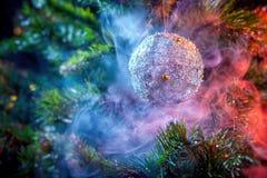 Silver shiny decoration Christmas balls stock photo