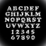 Silver shiny English alphabet and numerals from grey balloons on a black background. Royalty Free Stock Photos