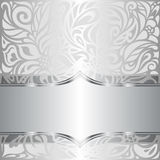 Silver shiny floral vintage pattern wallpaper background Royalty Free Stock Photo