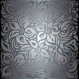 Silver shiny floral vintage wallpaper background Royalty Free Stock Image
