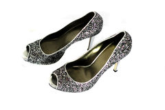Silver Shiny Shoes Royalty Free Stock Images