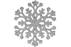 Silver shiny snowflake. Isolated on a white background Royalty Free Stock Photography