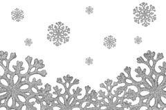 Silver shiny snowflakes fall Stock Photos