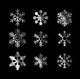 Silver shiny snowflakes  Stock Photography