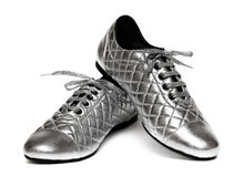Silver shoes Stock Images