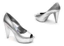 Silver shoes Royalty Free Stock Image