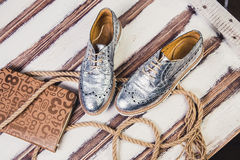 Silver shoes Italian shoes women Stock Image