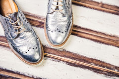 Silver shoes Italian shoes women Stock Photography