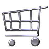 Silver Shopping Cart Royalty Free Stock Photography