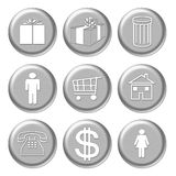 Silver Shopping icons Royalty Free Stock Image