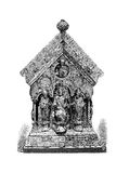 Silver shrine representing Charlemagne between two bishops. Silver shrine with Charlemagne or Charles the Great on the throne flanked by two bishops, guarded in Stock Photography