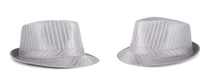Silver silk hat for the summer on an isolated background Royalty Free Stock Images