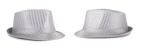 Silver silk hat for the summer on an isolated background Royalty Free Stock Photos