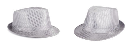 Silver silk hat for the summer on an isolated background Royalty Free Stock Image