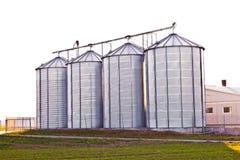 Silver silos Stock Photos