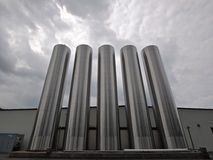 Silver Silos - Horizontal Shot Stock Images