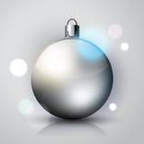 Silver simple Christmas ball Stock Photography