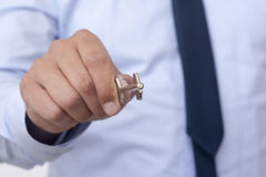 Silver Skeleton Key with Clipping Path Stock Photo