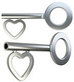 Silver skeleton key with heart shape. Isolated on white background 3d render stock illustration