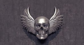 Silver skull with silver angel wings. 3D Rendering Royalty Free Stock Photo