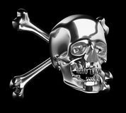 Silver Skull with cross bones or totenkopf isolated Royalty Free Stock Image