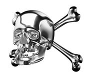Silver Skull with cross bones or totenkopf isolated Stock Photo