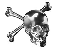 Silver Skull with crossed bones or totenkopf isolated Royalty Free Stock Photography