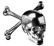Silver Skull with crossed bones or totenkopf Stock Photos