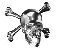 Silver Skull with crossed bones or totenkopf Stock Images