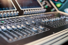 Silver sliders of the stage controller with screen Royalty Free Stock Photos